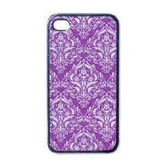 Damask1 White Marble & Purple Denim Apple Iphone 4 Case (black) by trendistuff