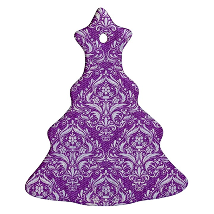 DAMASK1 WHITE MARBLE & PURPLE DENIM Ornament (Christmas Tree)