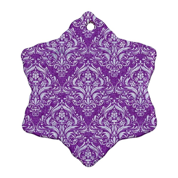 DAMASK1 WHITE MARBLE & PURPLE DENIM Snowflake Ornament (Two Sides)