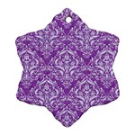 DAMASK1 WHITE MARBLE & PURPLE DENIM Snowflake Ornament (Two Sides) Back