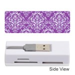 DAMASK1 WHITE MARBLE & PURPLE DENIM Memory Card Reader (Stick)  Front