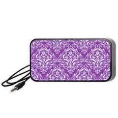 Damask1 White Marble & Purple Denim Portable Speaker by trendistuff