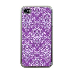 Damask1 White Marble & Purple Denim Apple Iphone 4 Case (clear) by trendistuff