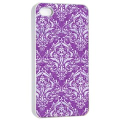 Damask1 White Marble & Purple Denim Apple Iphone 4/4s Seamless Case (white) by trendistuff