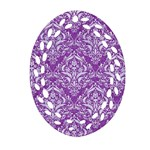 DAMASK1 WHITE MARBLE & PURPLE DENIM Ornament (Oval Filigree) Front