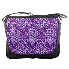 Damask1 White Marble & Purple Denim Messenger Bags by trendistuff