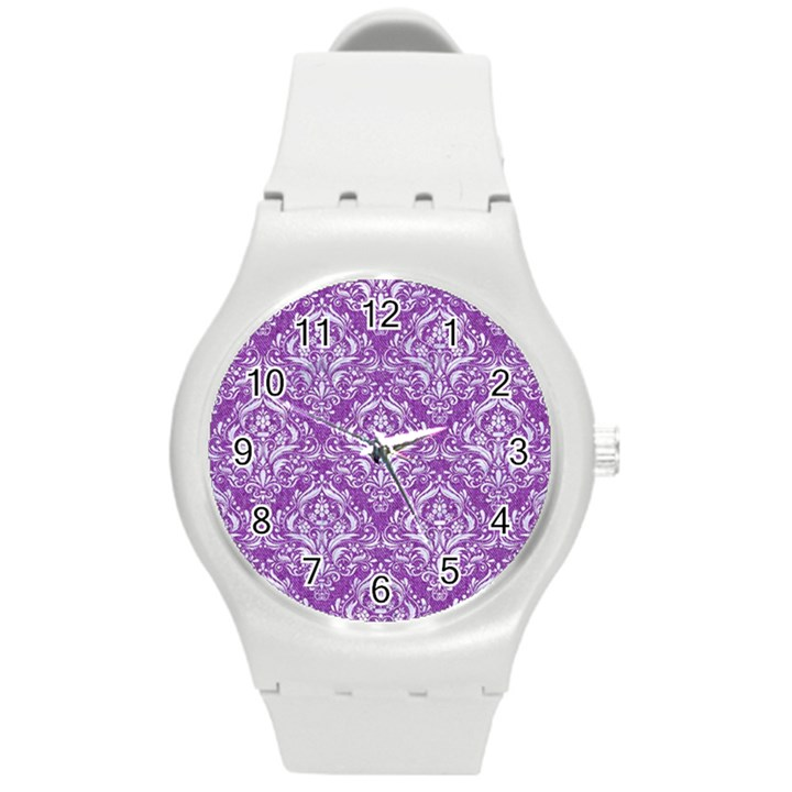 DAMASK1 WHITE MARBLE & PURPLE DENIM Round Plastic Sport Watch (M)