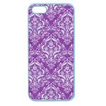 DAMASK1 WHITE MARBLE & PURPLE DENIM Apple Seamless iPhone 5 Case (Color) Front