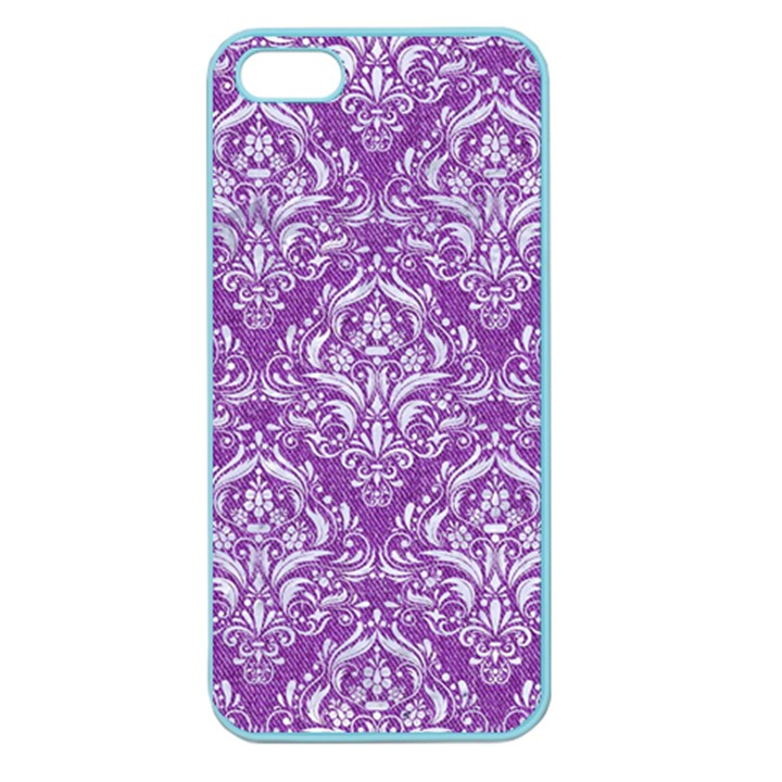 DAMASK1 WHITE MARBLE & PURPLE DENIM Apple Seamless iPhone 5 Case (Color)