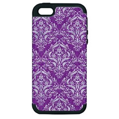 Damask1 White Marble & Purple Denim Apple Iphone 5 Hardshell Case (pc+silicone) by trendistuff