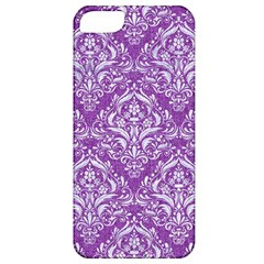 Damask1 White Marble & Purple Denim Apple Iphone 5 Classic Hardshell Case by trendistuff