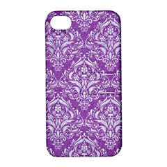 Damask1 White Marble & Purple Denim Apple Iphone 4/4s Hardshell Case With Stand by trendistuff