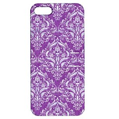 Damask1 White Marble & Purple Denim Apple Iphone 5 Hardshell Case With Stand by trendistuff