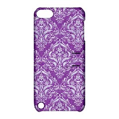 Damask1 White Marble & Purple Denim Apple Ipod Touch 5 Hardshell Case With Stand by trendistuff