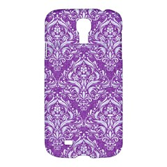 Damask1 White Marble & Purple Denim Samsung Galaxy S4 I9500/i9505 Hardshell Case by trendistuff