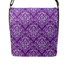 Damask1 White Marble & Purple Denim Flap Messenger Bag (l)  by trendistuff