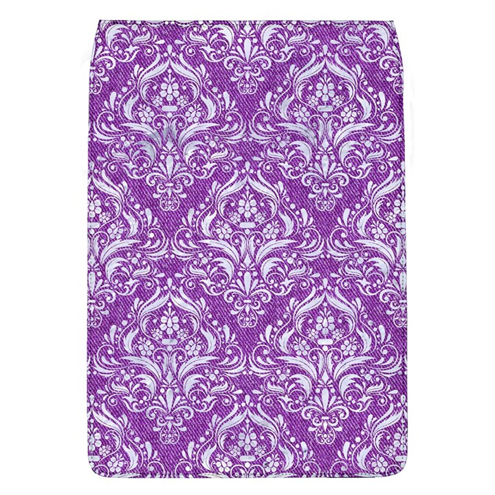 DAMASK1 WHITE MARBLE & PURPLE DENIM Flap Covers (L)