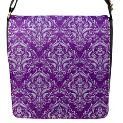 Damask1 White Marble & Purple Denim Flap Messenger Bag (s) by trendistuff