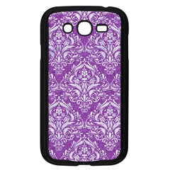 Damask1 White Marble & Purple Denim Samsung Galaxy Grand Duos I9082 Case (black) by trendistuff