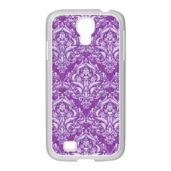 Damask1 White Marble & Purple Denim Samsung Galaxy S4 I9500/ I9505 Case (white) by trendistuff