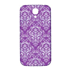 Damask1 White Marble & Purple Denim Samsung Galaxy S4 I9500/i9505  Hardshell Back Case by trendistuff