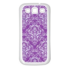 Damask1 White Marble & Purple Denim Samsung Galaxy S3 Back Case (white) by trendistuff