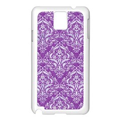 Damask1 White Marble & Purple Denim Samsung Galaxy Note 3 N9005 Case (white) by trendistuff