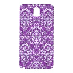 Damask1 White Marble & Purple Denim Samsung Galaxy Note 3 N9005 Hardshell Back Case by trendistuff