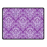 DAMASK1 WHITE MARBLE & PURPLE DENIM Double Sided Fleece Blanket (Small)  45 x34 Blanket Front