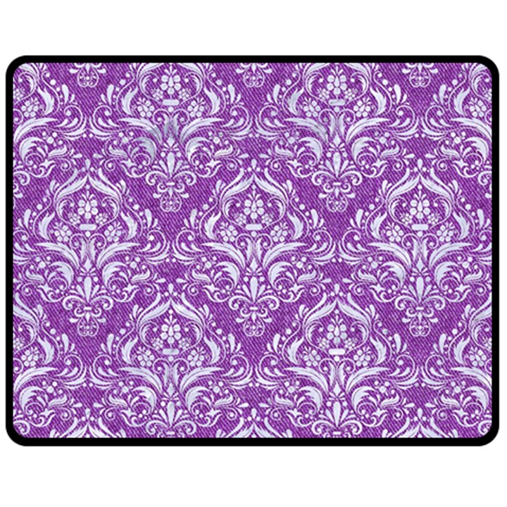DAMASK1 WHITE MARBLE & PURPLE DENIM Double Sided Fleece Blanket (Medium)