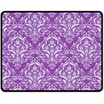 DAMASK1 WHITE MARBLE & PURPLE DENIM Double Sided Fleece Blanket (Medium)  58.8 x47.4 Blanket Back