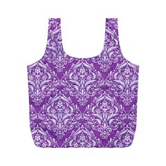 Damask1 White Marble & Purple Denim Full Print Recycle Bags (m)  by trendistuff