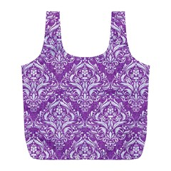 Damask1 White Marble & Purple Denim Full Print Recycle Bags (l)  by trendistuff