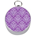 DAMASK1 WHITE MARBLE & PURPLE DENIM Silver Compasses Front