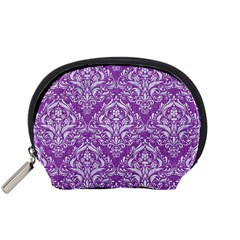 Damask1 White Marble & Purple Denim Accessory Pouches (small)  by trendistuff