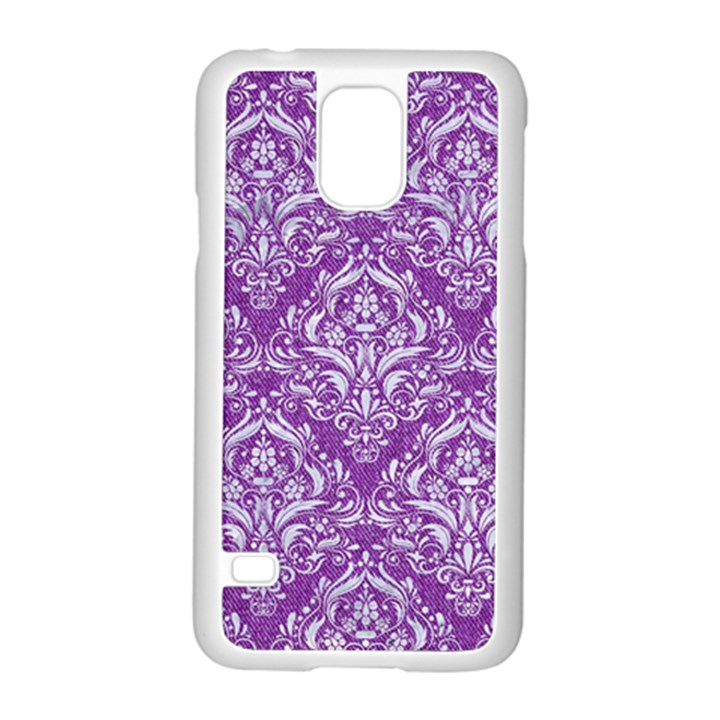 DAMASK1 WHITE MARBLE & PURPLE DENIM Samsung Galaxy S5 Case (White)