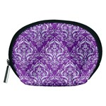 DAMASK1 WHITE MARBLE & PURPLE DENIM Accessory Pouches (Medium)  Front