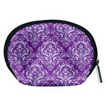 DAMASK1 WHITE MARBLE & PURPLE DENIM Accessory Pouches (Medium)  Back