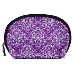 Damask1 White Marble & Purple Denim Accessory Pouches (large)  by trendistuff