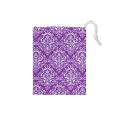 Damask1 White Marble & Purple Denim Drawstring Pouches (small)  by trendistuff