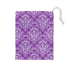 Damask1 White Marble & Purple Denim Drawstring Pouches (large)  by trendistuff