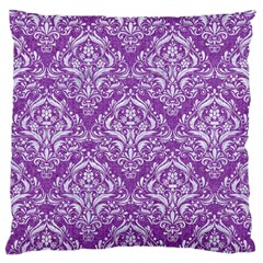 Damask1 White Marble & Purple Denim Large Flano Cushion Case (two Sides) by trendistuff