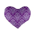 DAMASK1 WHITE MARBLE & PURPLE DENIM Standard 16  Premium Flano Heart Shape Cushions Front