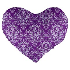Damask1 White Marble & Purple Denim Large 19  Premium Flano Heart Shape Cushions by trendistuff