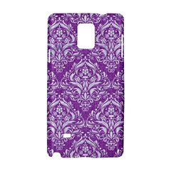Damask1 White Marble & Purple Denim Samsung Galaxy Note 4 Hardshell Case by trendistuff