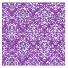 Damask1 White Marble & Purple Denim Large Satin Scarf (square) by trendistuff