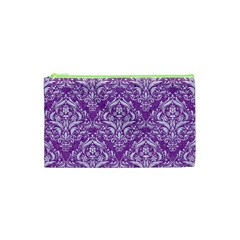 Damask1 White Marble & Purple Denim Cosmetic Bag (xs) by trendistuff
