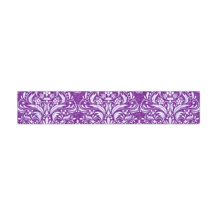 DAMASK1 WHITE MARBLE & PURPLE DENIM Flano Scarf (Mini)