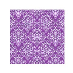 Damask1 White Marble & Purple Denim Small Satin Scarf (square) by trendistuff