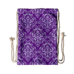 Damask1 White Marble & Purple Denim Drawstring Bag (small) by trendistuff
